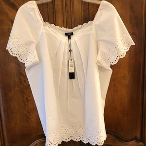 Talbots cotton/eyelet peasant blouse NWT